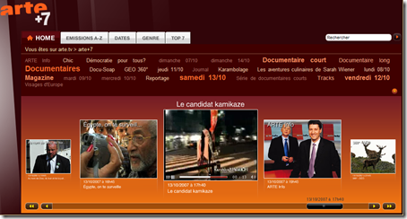 Replay TV d'Arte avec son service Arte+7